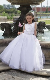 Princess Pearl Waist Tulle Taffeta-Top Flower Girl Dress