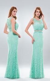 Column Jeweled Pleats Floor-Length V-Neck Lace Sleeveless Dress
