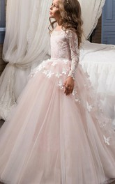 Tulle Bateau Long Sleeves Appliqued Flower Girl Dress