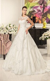 Scoop-neck Cap-sleeve A-line Ball Gown Wedding Dress With Appliques And Corset Back