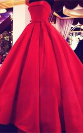 Elegant Strapless Ball Gown Evening Dress Bowknot Sleeveless
