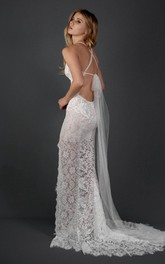 Lace Illusion Scalloped Halter Wedding Dress
