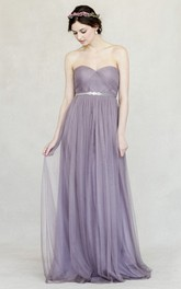 Sweetheart Empire Criss cross Ruched Tulle Floor-length Bridesmaid Dress