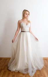 Tulle Spaghetti Lace Top Floor-Length Romantic Dress
