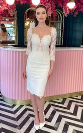 Sweetheart Lace 3/4 Length Sleeve Knee-length Cross Back Pencil Wedding Dress
