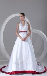 Sleeveless Satin Halter Stunning Bridal A-Line Dress