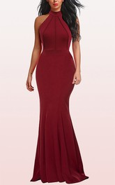 Simple Halter Jersey A Line Sleeveless Guest Evening Dress With Ruffles
