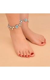 Vintage Ethnic Style Beach Sandals Diamond Jewelry Diamond Anklet