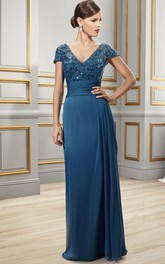 Cap-Sleeve Chiffon Sequined Floor-Length Formal V-Neckline Dress