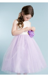 Tulle-Skirt Bow Satin Ribbon Scoop-Neckline Sleeveless Dress