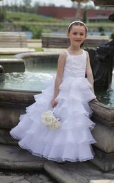 Floor-Length Layered Organza Skirt Strapped Asymmetric Flower Girl Dress