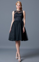 Knee-Length Lace Illusion-Neckline Bridesmaid Dress