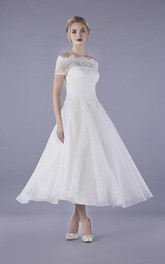 Vintage Bateau Illusion Lace Tulle Ankle Length Wedding Dress With Buttons
