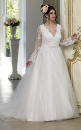 V-Neckline Satin Court-Train Ball-Gown Princess Tulle Puff Dress