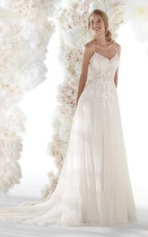 Ethereal Spaghetti Straps Open Back Tulle Bridal Gown With Lace Appliques And Ruching
