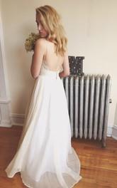 Pleated Wedding Chiffon Backless Bohemian Floor-Length Gown