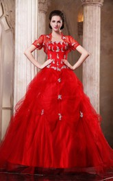 Flamboyant Crystal Removable Bolero A-Line Ball Gown