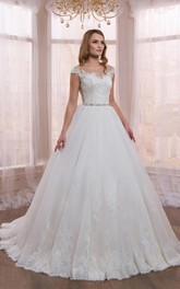 Scoop-neck Cap-sleeve A-line Appliqued Wedding Dress With Illusion And Jeweled Waist