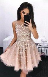 Sleeveless A-line Knee-length Bateau Beading Flower Pleats Sequins Tulle Sequins Homecoming Dress