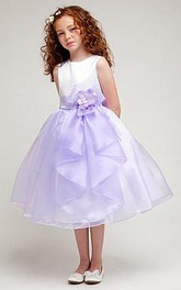 Slit-Front Satin Bowknot 3-4-Length Organza Flower Girl Dress