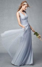 gossamery V-neck Sleeveless Tulle Dress With Ruching