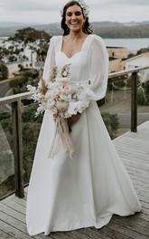 A Line Queen Anne Chiffon Floor-length Sweep Train Long Sleeve Open Back Wedding Dress