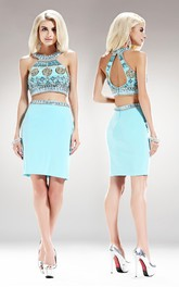 2-Piece Keyhole Jersey Jeweled Column Short Scoop-Neck Mini Sleeveless Dress