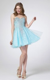 A-Line Jeweled Mini Sweetheart Tulle Sleeveless Satin Dress