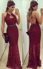 Newest Lace Mermaid Halter 2018 Prom Dress Sleeveless Floor-length