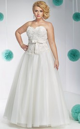 Sweetheart A-line bowed plus size wedding dress With Corset Back