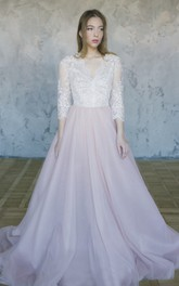 Lace 3/4 Sleeve Tulle Wedding Gown With V-neck