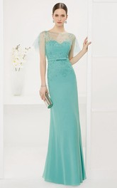 Sheath Bateau Illusion Jersey Dress With Beading
