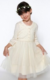 3-4-Sleeve Pleated Scoop-Neckline A-Line Tulle Flower Girl Dress