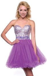 Sweetheart A-Line Tulle Mini Homecoming Dress With Sequined Bodice