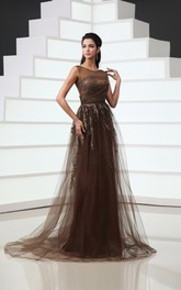 Tulle Embroidery Sequins Bateau-Neck Backless Gown