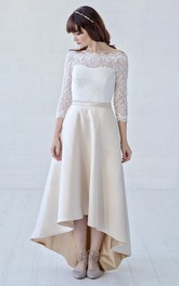 Off-the-shoulder High-low Lace And Satin 3/4 Illusion Sleeve With Button Back Wedding Dress