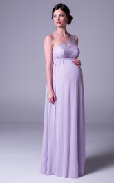 One-shoulder Chiffon Empire long Maternity Dress With Lace And Illusion