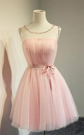 adorable Sleeveless Tulle short A-line Dress With Beading And Corset Back