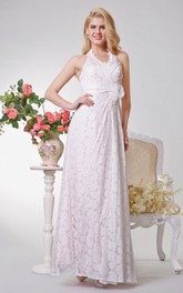 Haltered Lace Sheath Dress With Flower And side Draping