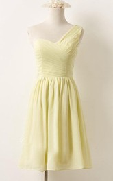 One-shoulder Sleeveless short A-line Bridesmaid Dress With Ruching