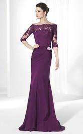 Bateau Jersey Half Sleeve Lace Appliques Dress