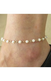 Western Style New Alloy Pearl Foot Fashion Simple Anklet