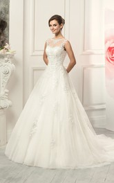 Jewel Appliqued Lace Ball-Gown Princess Tulle Illusion Dress