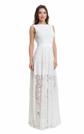 Lace Bateau Sleeveless Pleated Sheath Dress With Deep-V Back