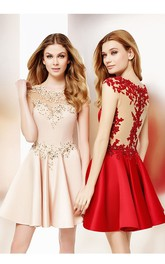 fit and flare Satin Prom Dress With Appliques