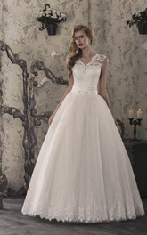 V-neck Lace Cap-sleeve Ball Gown Wedding Dress With Beading And Pleats