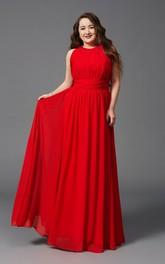 A-line Floor-length Jewel Sleeveless Chiffon Pleats Zipper Dress