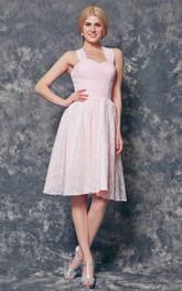 Chiffon Knee-Length Halter Lace Bridesmaid Dress