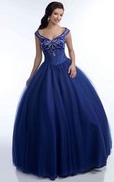 Tulle Crystal Detailed Top V-Neck Ball Gown