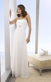 Long Beach Strapless A-Line Bridal Chiffon Dress